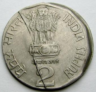 2 rupee 2001 obv split die