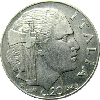 Italy obv split die 20 cent 1943