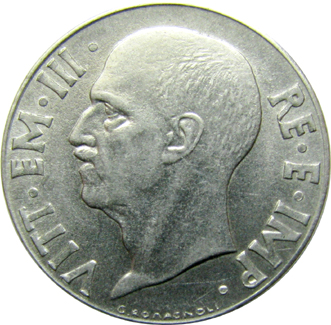 Italy obv split die 20 cent reverse 1943