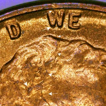 Lincoln Cent Spike Heads 1950-1959 : Cuds on Coins
